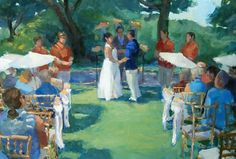 The charm of Adrienne and Nathan's wedding shines through in this Jane Radstrom painting.