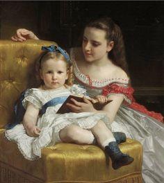 history-of-fashion:  1869 William Adolphe Bouguereau - Portrait of Eva and Frances Johnston