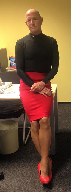 Just another day at the office. Skirt and heels.