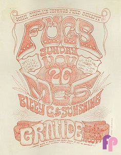 11/26/ 1967 ..... Grande Ballroom ... Detroit ... The Fugs ....MC5 ... Billy C & The Sunshine ..  ...artist ... GARY GRIMSHAW