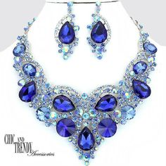 "HIGH END ""PRINCESS"" BLUE CHUNKY GLASS CRYSTAL WEDDING FORMAL JEWELRY SET TRENDY #Unbranded"
