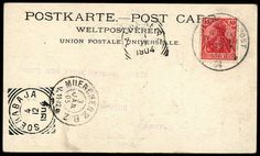 Postmark German sea mail new guinea branch line (Singapore) * b 13. 11. 1904, steamer Prince Waldemar, picture postcards Matupi with 10 Pfg Germania to Munich, DSt Banda Neira and Soerabaja 4. 12. 04, bough 3. 1. 05, at back greeting text and signatur of the important American J    Dealer  Peter Harlos    Auction  Minimum Bid:  400.00 EUR