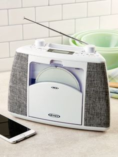 It's a Portable CD Player With Fabric-Covered Speaker Grills, Just Like the Souped-Up Stereos You Remember Antique Radio, Direct Marketing, Fabric Covered, Bluetooth, Grills, Tech, Products, Technology, Gadget