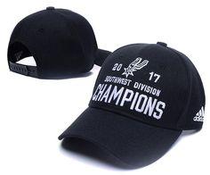 Men's / Women's San Antonio Spurs Adidas 2017 NBA Southwest Division Champions Adjustable Hat - Black