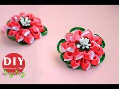 DIY.Kanzashi flower tutorial/scrunchy Kanzashi/flowers from ribbon - YouTube