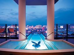 Hugh Hefner Sky Villa, Palms Casino Resort, Las Vegas - This multi-million dollar 9,000-square-foot Hugh Hefner Sky Villa at the Palms Casino Resort in Las Vegas features a glass elevator, rotating bed, and glass wall Jacuzzi and costs around $40,000 a night.