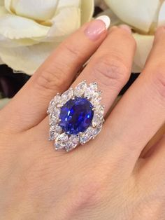 GRS Certified No Heat 9.27 ct Oval Blue Sapphire &Diamond Ring 18K White Gold #Cocktail