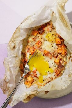 Smoky Sweet Potato, Egg & Cheese Breakfast Bake by wanderlustkitchen #Sweet_Potato #Egg #Cheese #Healthy #Easy #Parchment