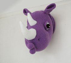 Rhinka the Rhino - Amigurumi Rhino Crochet Pattern - Faux Taxidermy - Crochet Wall Decor by pepika Cute Crochet, Crochet For Kids, Crochet Crafts, Crochet Toys, Crochet Baby, Crochet Things, Crochet Taxidermy, Faux Taxidermy, Amigurumi Patterns