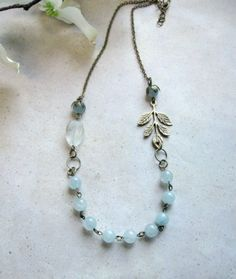 Pale blue necklace jade beads  cottage chic by botanicalbird