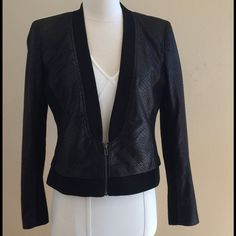 """ARMANI EXCHANGE Reptile Pattern an Poly Zipper Jkt Stunning and Sophisticated Black Reptile Pattern Jacket from Armani Exchange. Shawl Collar Style Front with a Zipper Closure and Solid Black Poly inserts. Completely lined. Sleeve length 24"""". Shoulder to bottom measures 20 1/2"""". Chest measures 20"""". Label says large but definitely runs small. Will fit a size small / med 6 or 8. Excellent condition, still has a tag attached. Armani Exchange Jackets & Coats Blazers"""