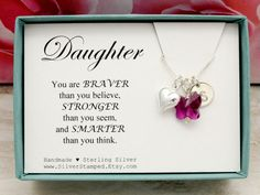 #giftfordaughter #daughter #daughternecklace #youarebraver #youarebraverthanyouthink #silvernecklace #daughternecklace #birthdaygift #personalized #initialnecklace #christmasgifts
