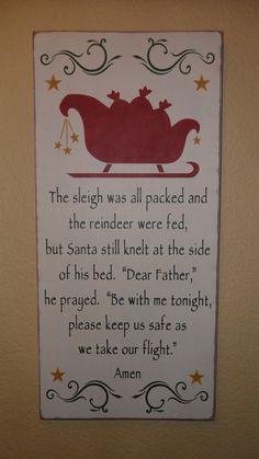 Santa's Prayer primitive wood sign by PrimitiveHodgePodge on Etsy #santa #sleigh #christmas