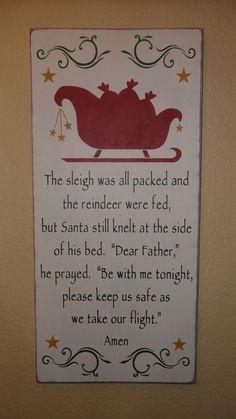 Santa's Prayer Primitive Wood Sign