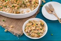This hearty vegan tuna casserole recipe calls for garbanzo beans instead of tuna and mushrooms instead of the traditional can of Cream of Mushroom Soup.