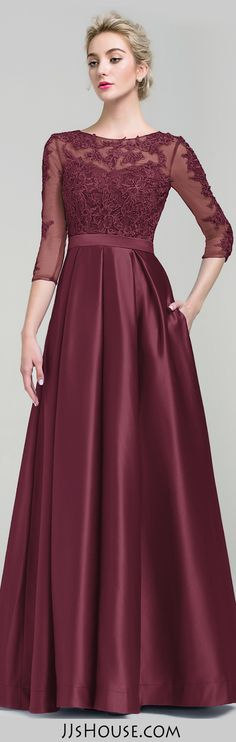 Ball-Gown Scoop Neck Floor-Length Satin Evening Dress  #JJsHouse