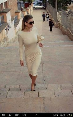 Creme fitted dress