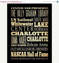 ON SALE Charlotte North Carolina Typography Art by LegacyHouseArt, $39.95