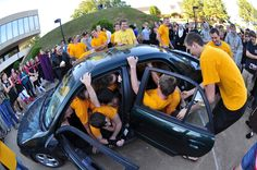 LeTourneau University students compete to see who can creatively fit the most people into a small car at one time at the annual car cram. http://www.letu.edu/