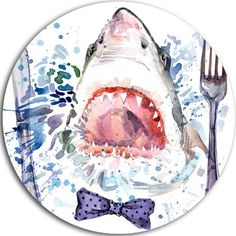 "DesignArt 'Hungry Shark Illustration' Graphic Art Print on Metal Size: 11"" H x 11"" W x 1"" D"