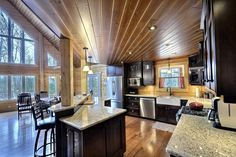 My absolute dream kitchen (Timber Block Homes) Log Home Kitchens, Dream Kitchens, Log Home Floor Plans, Log Cabin Homes, Log Cabins, Energy Efficient Homes, Wood Interiors, Classic House, House In The Woods