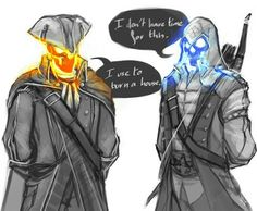Assian Creed, Assassin's Creed List, Blue Ghost Rider, Red Hood Wallpaper, Assassins Creed Memes, Assassin's Creed Brotherhood, Wolf Skull, Black Anime Characters, Davy Jones