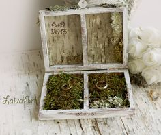 #personalized #wedding #ring #pillow #box #birch #bark #rustic #vintage #personalized