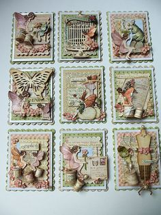 Primitive Seasons: Fairies in Springtime using Spellbinders Nestabilities lg and sm rectangles and scalloped rectangles.