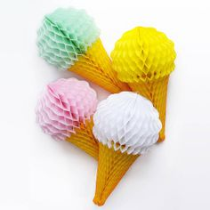 Ice Cream Cone Tissue Paper // Honeycomb Balls // Party Supplies // Birthday Party, Wedding and Baby Shower