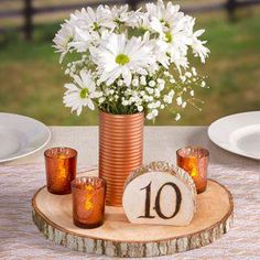 David Tutera Natural Round Wood Slab Tray for Centerpieces - Wide Wedding Table Centerpieces, Flower Centerpieces, Table Decorations, Centerpiece Ideas, Wood Slab Centerpiece, Flower Arrangements, Bohemian Wedding Decorations, Deco Table, Simple Weddings