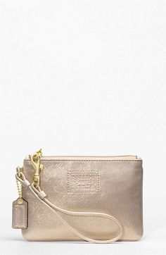 Coach Poppy Leather Small Wristlet  Brass/Gold $58.00