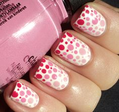 China Glaze polka dots nail art in these colors: Snow, Something Sweet, Dance Baby and Fuchsia Fanatic.