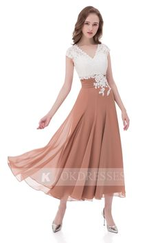 Unique A Line V Neck Chiffon Lace Top Ankle-length Cap Sleeves Prom Dress OK807