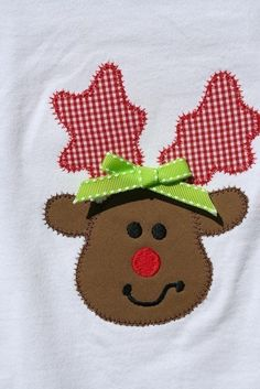 Personalized Free Reindeer Christmas Rudolph Applique Tee T Shirt Boys or Girls FREE SHIPPING. $24.00, via Etsy.