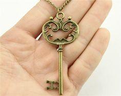 WYSIWYG vintage antique bronze color 69mm big key pendant necklace,70cm chain long necklace