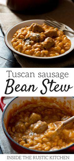 Bean Recipes, Sausage Recipes, Soup Recipes, Dinner Recipes, Cooking Recipes, Healthy Recipes, Kitchen Recipes, Chana Masala, Tuscan Recipes