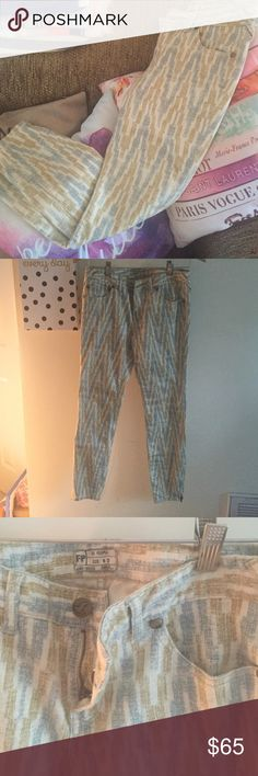 Free People patterned pants Free Peolle amazing gold/yellow and blue patterned jeans. Only worn once, in amazing condition. Free People Pants Skinny