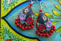 Embroidered earrings – Mexican inspired?