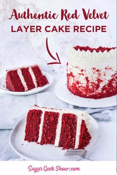 Personalized Graduation Gifts - Ideas To Pick Low Cost Graduation Offers How To Make An Authentic Red Velvet Layer Cake With Cream Cheese Frosting. In the event that You've Been Wondering How To Make A Real Red Velvet Cake, You Need To Try This Recipe One Layer Cake Recipes, Easy Cake Recipes, Cupcake Recipes, Cupcake Cakes, Gourmet Cupcakes, Real Red Velvet Cake Recipe, Red Velvet Cake Moist, Red Velvet Cake Frosting, Best Red Velvet Cake