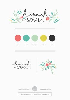 Eva Black Design | Blog: Recent Brand : Hannah White. [idea for branding sheet] {love font & colors}