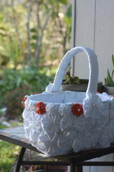 Handmade flower girl basket.