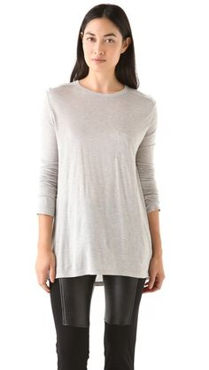 T by Alexander Wang Classic Long Sleeve Pocket Tee