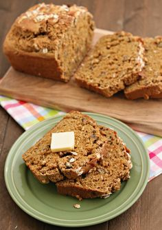 This Simple Oatmeal Beer Bread recipe is made with an Oatmeal Stout beer and whole wheat flour which makes it great for breakfast or an anytime of day snack!