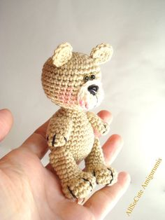 """Amigurumi Teddy Bear Pattern Crochet Teddy Bear Pattern  *This listing is for a DIGITAL PATTERN that you can download once payment has cleared and not an actual finished item*  Includes Photos, Instructions and Pattern. Written in English.   Finished Bear is approx 3.9"""" (10cm) tall standing and 3.1(8cm) while sitting . This may vary depending on the yarn and the size of crochet hook used.  Fun to make but requires basic crochet knowledge. My other Patterns are here…"""