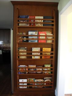 Cookbook rack on side of refrigerator - photo from Garden Web Kitchen Forum