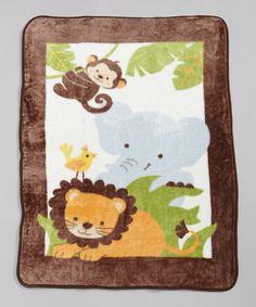 Bedtime Originals 30'' x 43'' Brown & Green Animals Warm & Cozy Blanket by Bedtime Originals #zulily #zulilyfinds