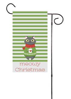 Meowy Christmas Cat Garden Flag