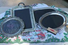 Coole Bastelideen DIY bastelideen alte küchenkrams kreidetafel aus silbertablett