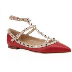 Valentino Garavani Rockstud Leather Ballet Flat (44.915 RUB) ❤ liked on Polyvore featuring shoes, flats, leather flats, strappy flats, leather pointed toe flats, strap ballet flats and leather slip-on shoes
