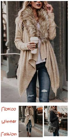Suitable for you who are elegant, the length is very suitable, you can modify your figure, the solid color series are simple and generous, don't you want to try it? Preppy Fall Fashion, Autumn Fashion Classy, Fall Fashion Outfits, Boho Outfits, Modest Fashion, Winter Outfits, Cute Outfits, Fur Collar Coat, Fur Collars